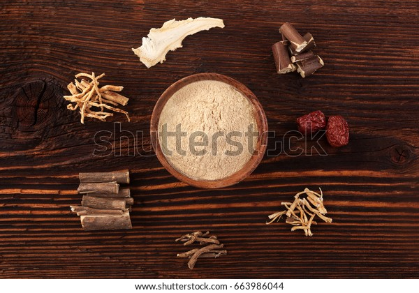 Chinese traditional medical herbs, adaptogens. Ashwagandha, ginseng; jujube, korean angelica and milk vetch.
