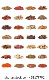 Chinese traditional medicinal herb collection, isolated over white background.