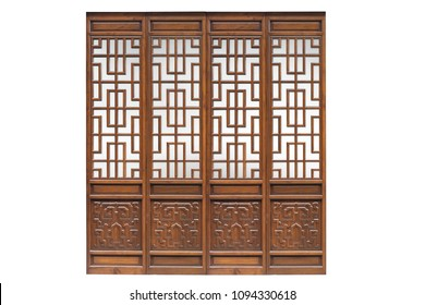 Chinese traditional style wooden door on isolated white background