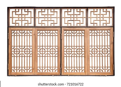 Chinese traditional style wooden window on isolated white background