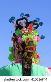 Chinese traditional style yangko folk dance performance headwear, luannan County, hebei Province, China