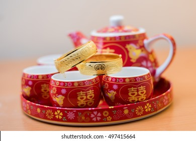 Chinese traditional tea set used in Chinese Wedding tea ceremony