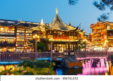 Chinese traditional yuyuan Garden building scenery in the evening,Shanghai