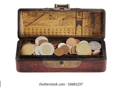 Chinese varnished chest full of coins - isolated on white