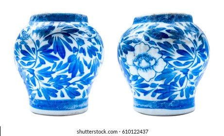 Chinese vase handcraft isolated on white background high quality