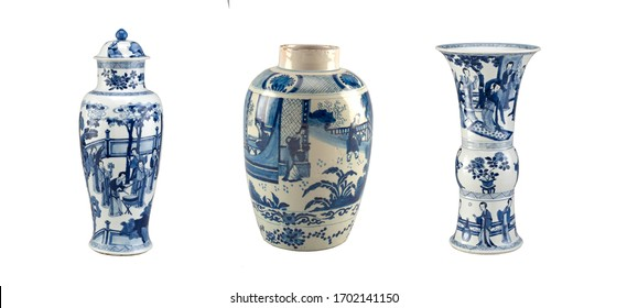 Chinese vases with blue decor on a white background