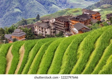 Chinese village in the beautiful terraced rice fields in Longsheng.