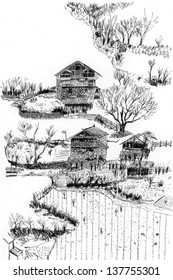 chinese Village and farmland  sketch