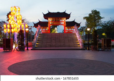 Chinese village gate at the twilight