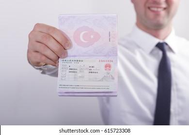 Chinese visa shown on a Turkish passport