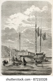 Chinese war junk old illustration. Created by Gaildrau, published on L'Illustration, Journal Universel, Paris, 1860