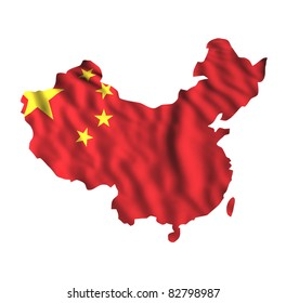 Chinese waving flag in a china map shape