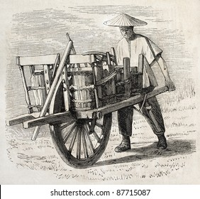 Chinese wheelbarrow old illustration. Created by Grandsire, published on L'Illustration, Journal Universel, Paris, 1860