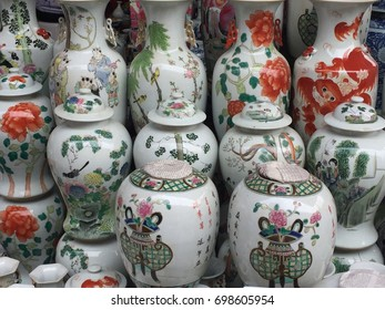 Chinese white porcelain storage jars and vases at Pangiayuan market in Beijing