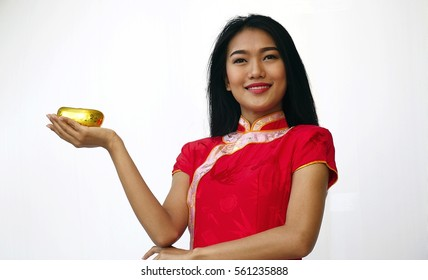 Chinese woman is happy with her present  golden gift Ang Pao on Chinese New Year
