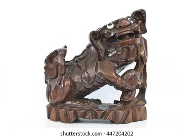Chinese Wooden Dog Statue