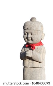 Chinese young boy stone sculpture with red scarf around the neck on isolate white background