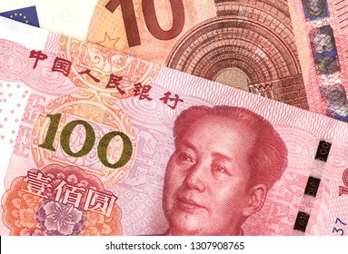 Chinese yuan banknote and european euro. Concept trade and cooperation