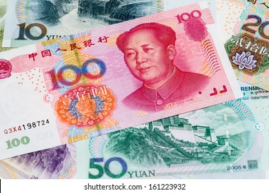 Chinese yuan close up view as a background