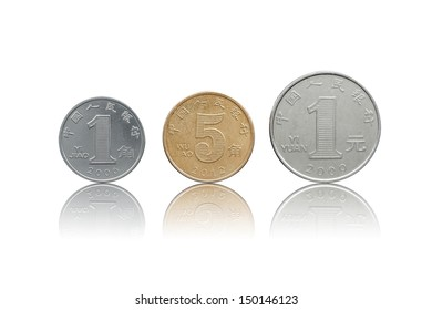 Chinese Yuan coins set back side isolated on white with refleciton