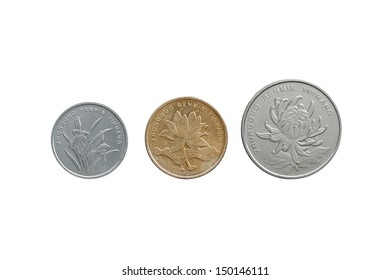 Chinese Yuan coins set front side isolated on white