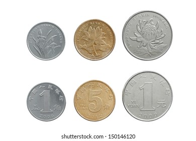 Chinese Yuan coins set on both side isolated on pure white background