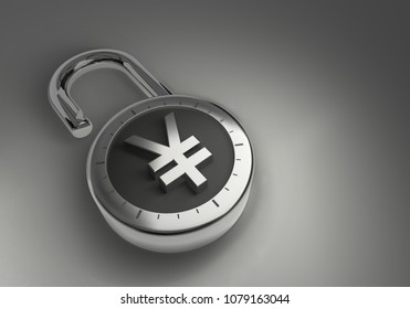 Chinese Yuan or Japanese Yen, hacked, vulnerable and unprotected and unsecured as 3d rendering. A combination lock is unlocked with a Chinese Yuan or Japanese Yen sign representing unsecured vulnerab