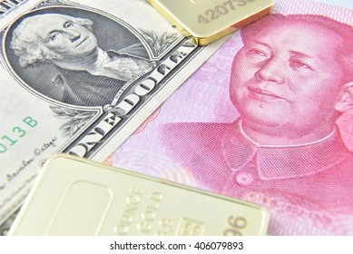 Chinese yuan / US dollar / gold bullion. A concept of China as the US largest foreign creditor which held trillions in US treasuries, reflecting the dramatic expansion of Beijing's economic influence.