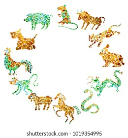 Chinese zodiac of tweve animals made of sea glass on white background