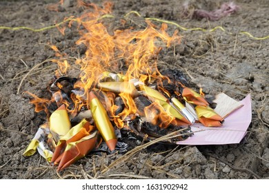 Chineses New Year. Burned paper money, gold paper, sent to ancestors that have passed away.
