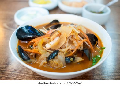 Chinese-style noodles with vegetables and seafood (jjamppong)