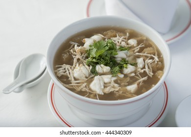 Chinese-styled Fish maw soup in deep bowll