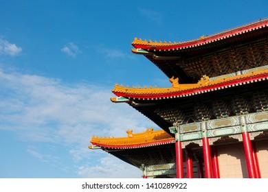 Chiness pavillion at Chiang Kai Shek memorial hall in Taipei, Taiwan with ble sky.