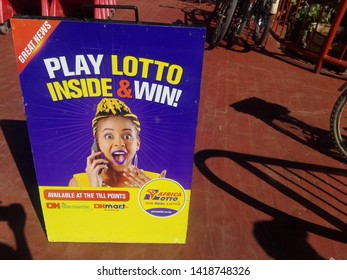 Chinhoyi, Zimbabwe. 29 May 2019. A banner for playing lotto. Play lotto and win. Jackpot cash prize.
