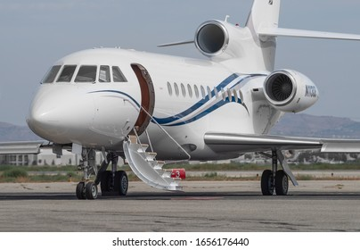 CHINO AIRPORT, CA/USA - SEPTEMBER 25, 2019: 2014 Dassault Aviation Falcon 900EX with registration N1130B shown on the tarmac.