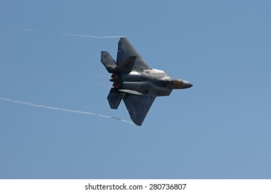 CHINO, CALIFORNIA/USA - MAY 3 - Lockheed Martin F-22 Raptor demo at the 'Planes of Fame Airshow'. Shown on May 3, 2015 in Chino, California, USA