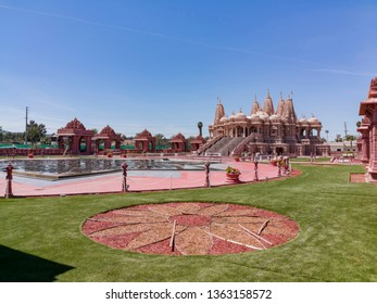 Chino Hills, MAR 31: Exterior view of the famous BAPS Shri Swaminarayan Mandir on MAR 31, 2019 at Chino Hills, Los Angeles County, California