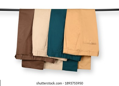 Chino Pants Isolated On White background. Hanged Cotton Pants. Trouser.