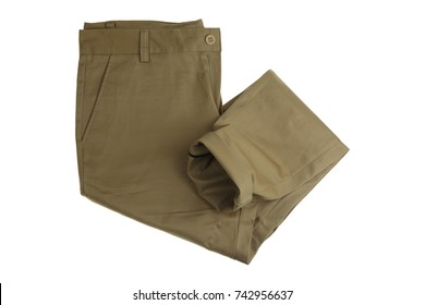 Chino Pants isolated on white background, khaki color.