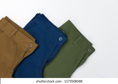 Chino Pants for men  isolated on white background, Brown , Green and Light navy color.