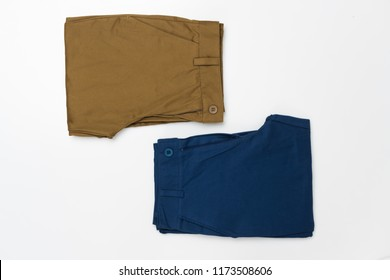 Chino Pants for men  isolated on white background, Brown and Light navy color.