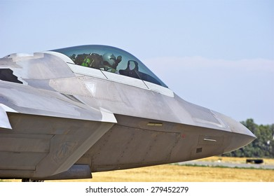 CHINO/CALIFORNIA - MAY 3, 2015: Lockheed Martin F-22 Raptor stealth tactical fighter aircraft taxiing on the runway at the Planes of Fame Airshow in Chino, California USA