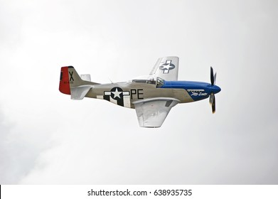 CHINO/CALIFORNIA - MAY 7, 2017: Vintage North American P-51 Mustang aircraft from WWII displays its flying agility in the skies over Chino, California USA