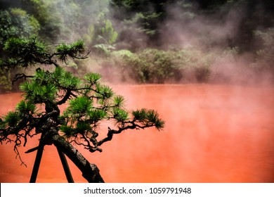 """Chinoike Jigoku in Beppu, Japan. """"Blood pond hell"""", Chinoike Jigoku is called """"blood pond hell"""" because of the red color of the water that emerges from the red clay."""