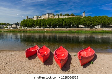 Chinon castle in the Loire Valley - France - travel and architecture background
