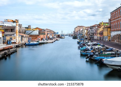 CHIOGGIA, ITALY - 23rd of August 2014: Long exposure view on one of the canals  on 23rd of August 2014 in CHIOGGIA, ITALY