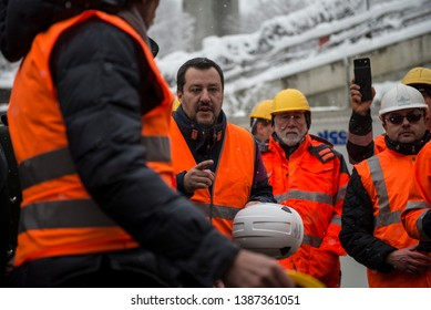 Chiomonte, Italy-February 1, 2019: Official visit of Matteo Salvini in the TAV construction site in Chiomonte near Turin