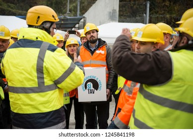 Chiomonte,Italy-November 16,2018: The visit of members of the SI Committee TAV at the TAV construction site in Chiomonte