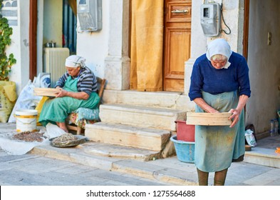 """Chios, Greece - October 2014: Scenic view from the traditional production of Mastic (plant resin) in Chios island, Greece.  Its known as the """"tears of Chios,"""" as it is produced in """"tears"""" or droplets"""