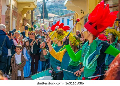 Chios Island, February 25, 2019: Thymiana Village Colorful view of the Mostra Carnival